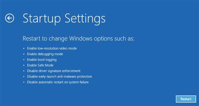 Startup settings option