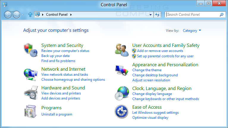 Figure 1. Windows 8 Control Panel