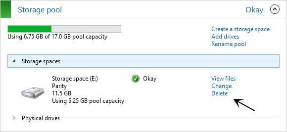 Delete a storage space