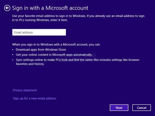 Enter Microsoft account email address screen