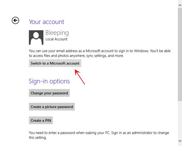 Switch from Local account to a Microsoft account