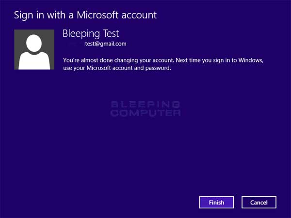 Switched to Microsoft account confirmation