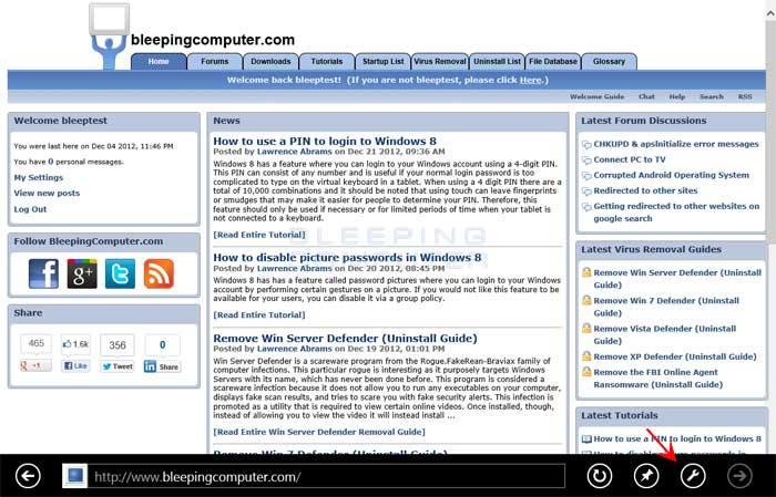 How to view a web page in Desktop Mode in Internet Explorer 10