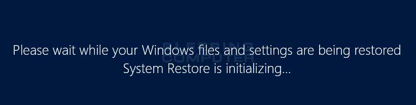 System Restore is restoring a restore point