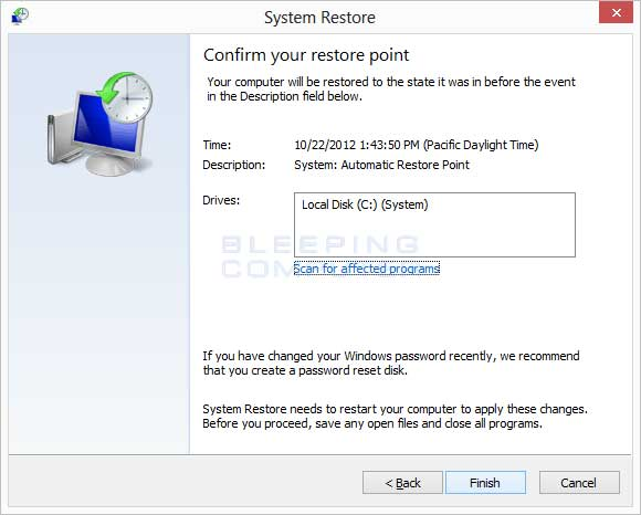 System restore confirmation