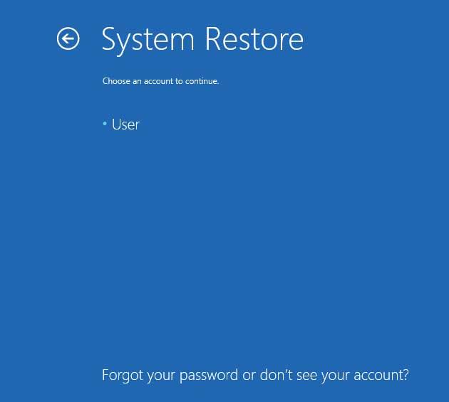 Select Administrator account screen