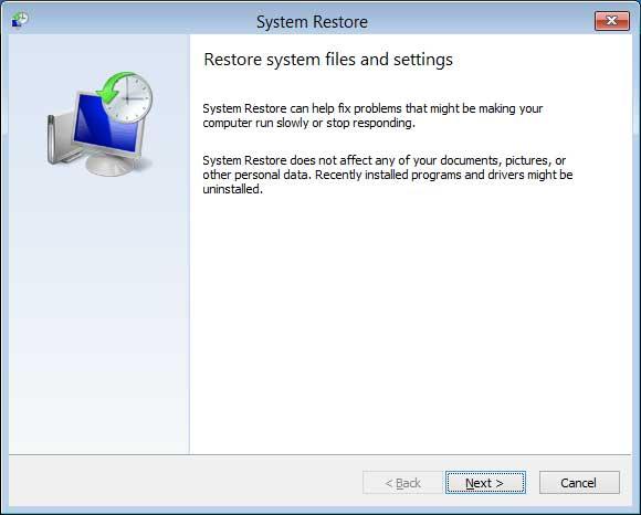 System Restore start screen