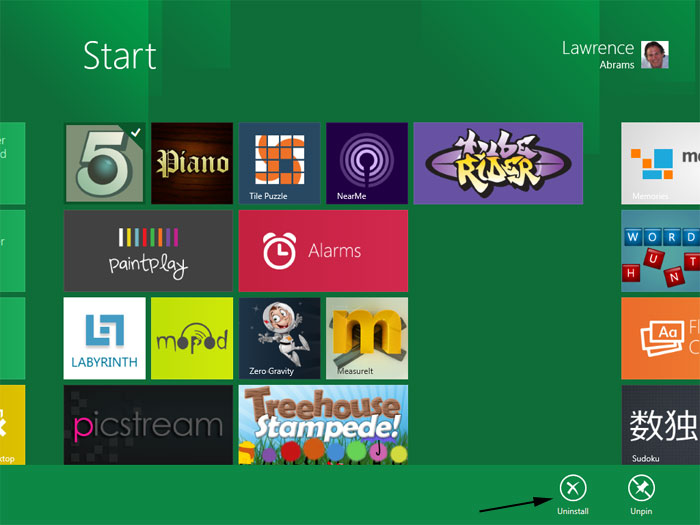 How to uninstall an App in Windows 8