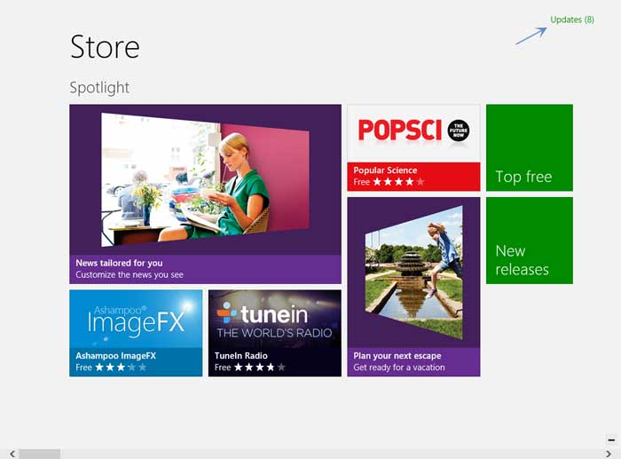 Windows Store Main screen