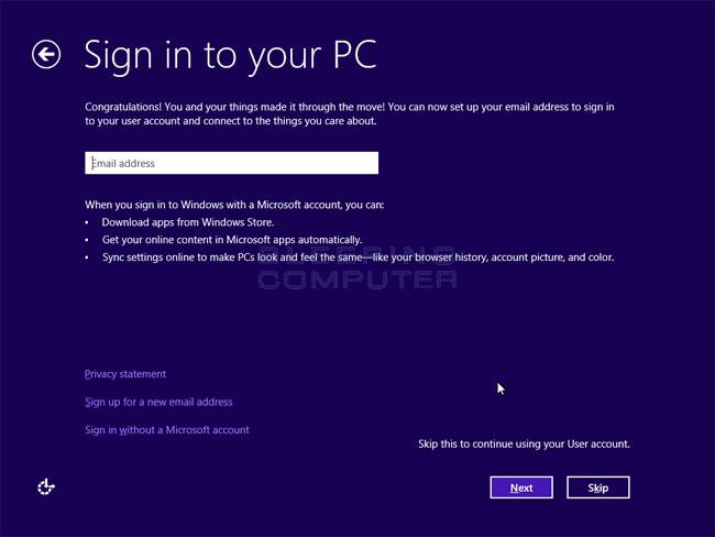 Local or Microsoft Account