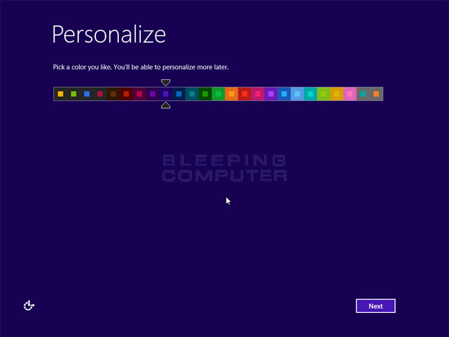 Personalize Colors screen
