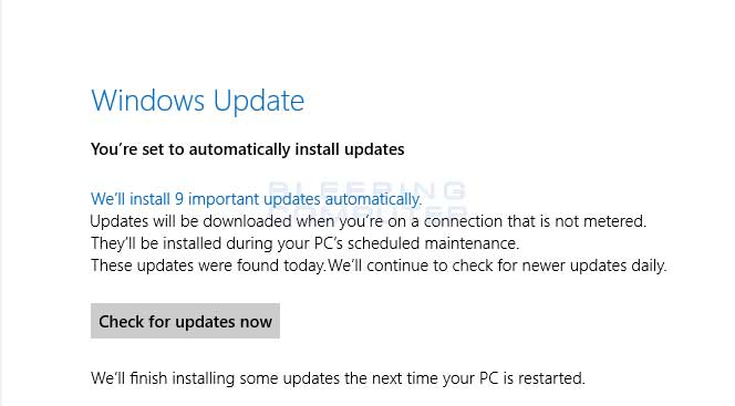 Windows update metered message