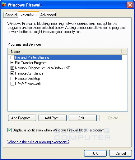 Windows Firewall Exceptions Screen