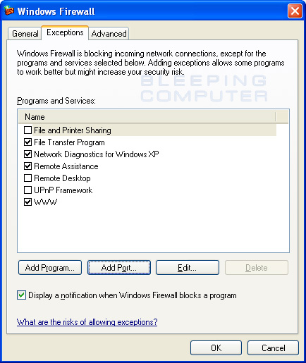 The WWW exception enabled in Windows Firewall