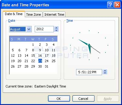 Windows XP Date and Time Properties