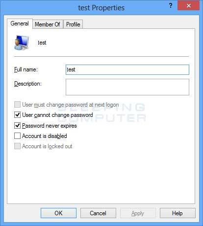 Account Properties screen