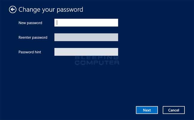 Windows 8 Change password screen