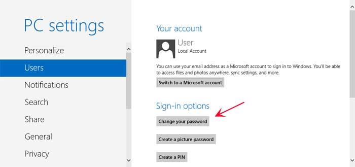 Users Settings screen