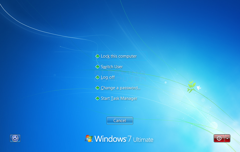 Windows 7 Security Screen