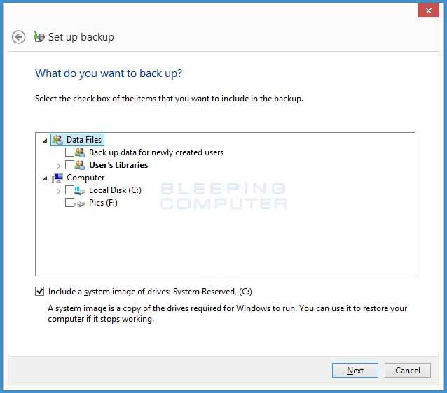 Detailed backup selection