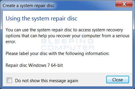 Windows 7 disc finished
