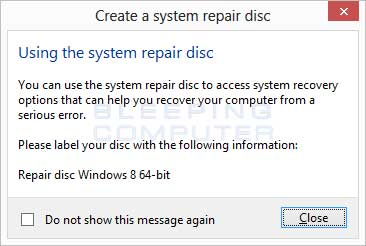 Disc finished in Windows 8