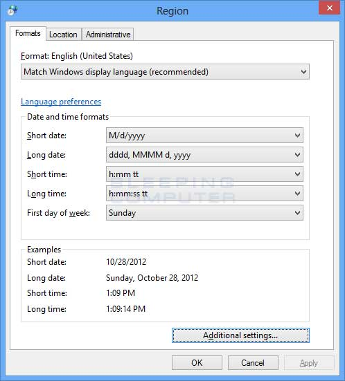 Region and Language Settings control panel