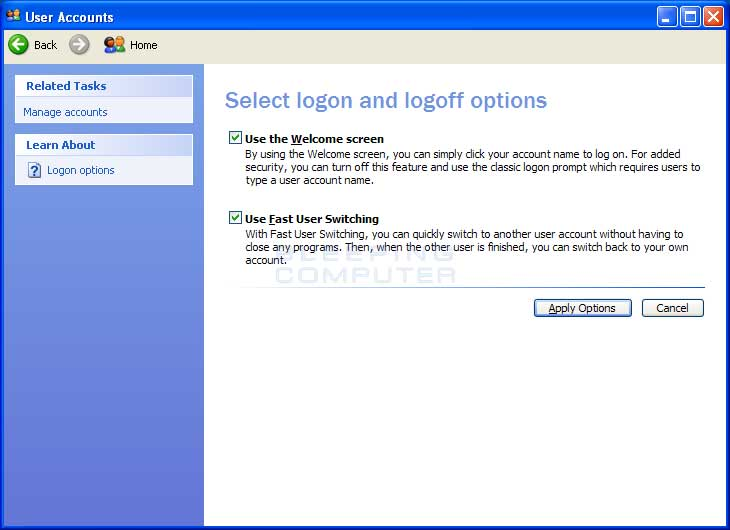 disable fast user switching windows 7 regedit