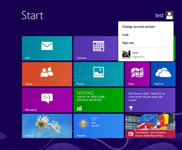 Windows 8 Log Off screen