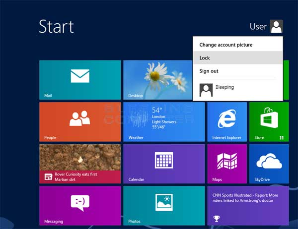 Windows 8 Lock Option