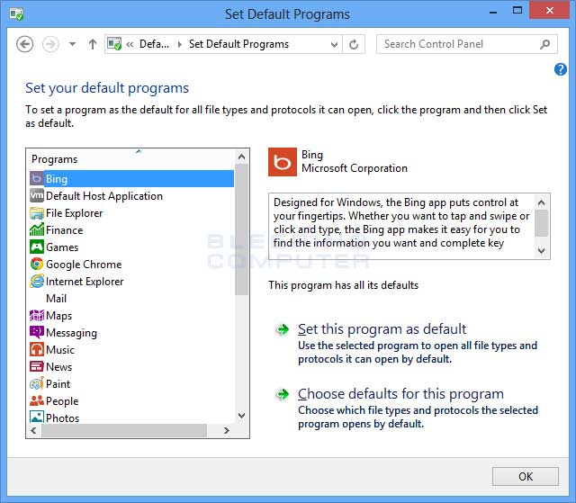 Set Default Programs Control Panel