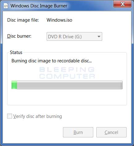 Windows Disc Image Burner writing