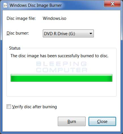 Windows Disc Image Burner Finished