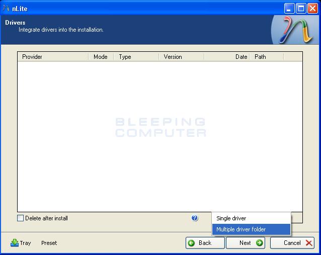 Select multiple driver folder