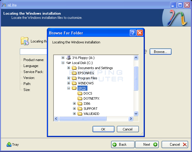 nLite locate windows install