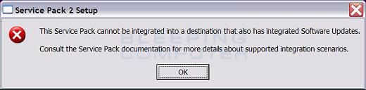 This Service Pack cannot be integrated into a destination that also has integrated Software Updates.